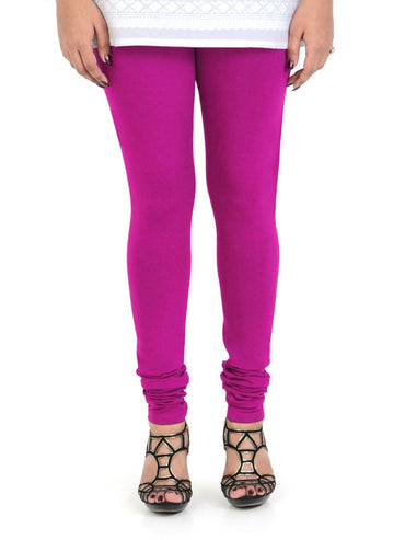 Vami Women's Cotton Stretchable Churidar Legging - Magic Pink