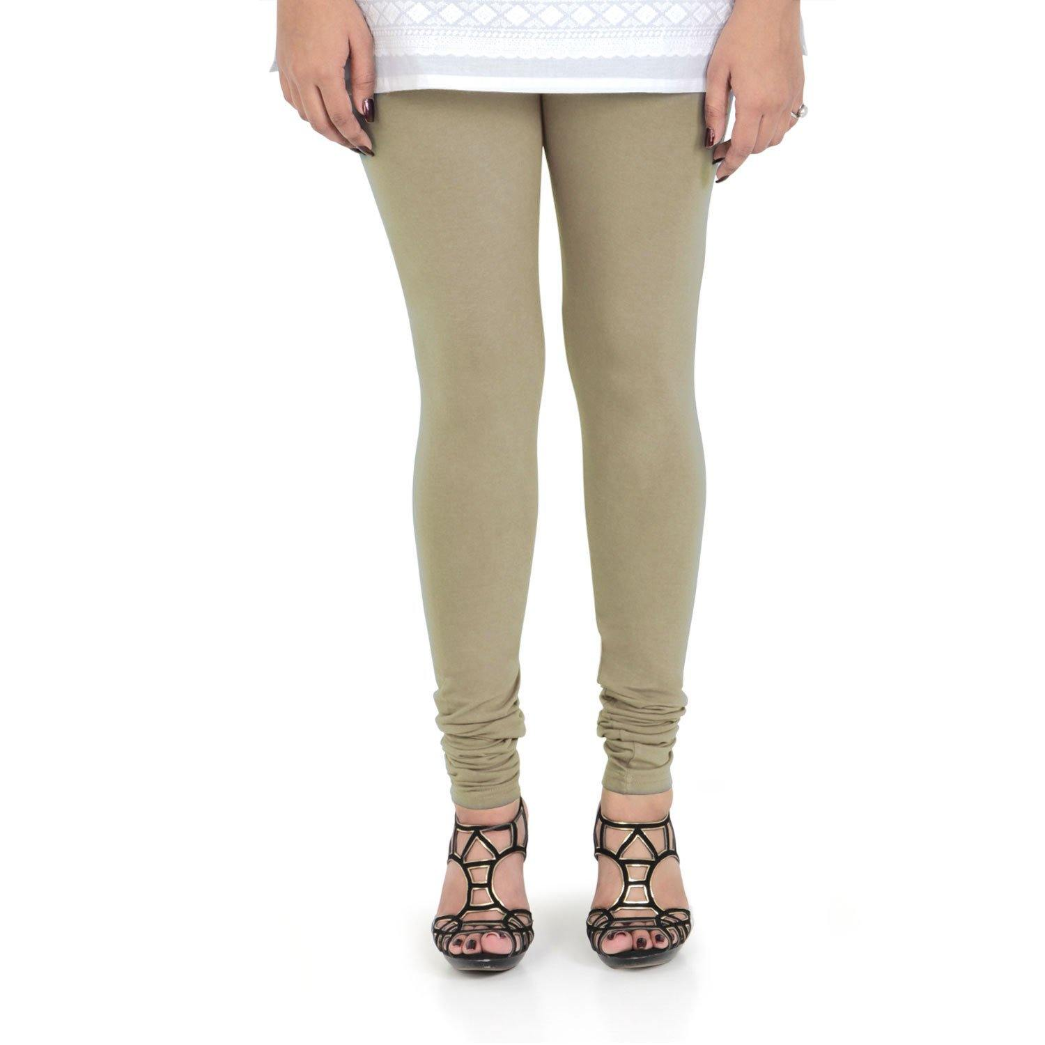 Vami Women's Cotton Stretchable Churidar Legging - Natural Tan