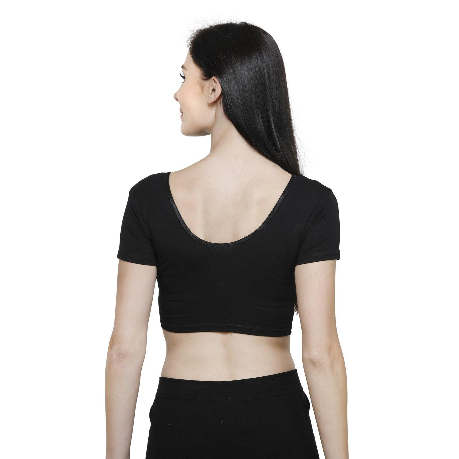 Vami Women's Cotton Stretchable Readymade Blouses - Black