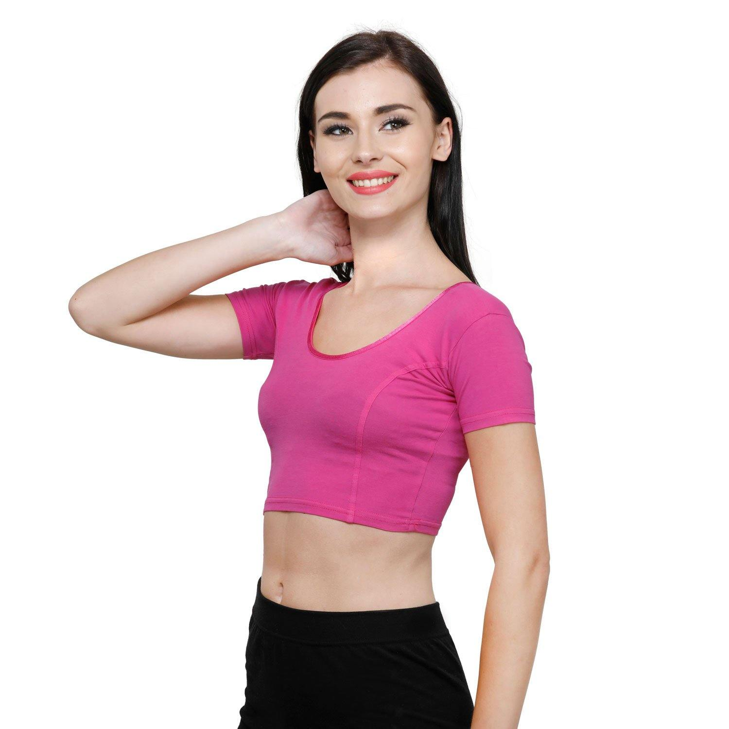 Vami Women's Cotton Stretchable Readymade Blouses -Bright Rose