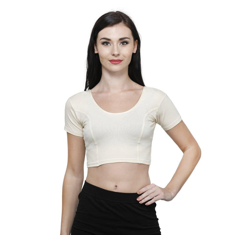 Vami Women's Cotton Stretchable Readymade Blouses - Butter Milk