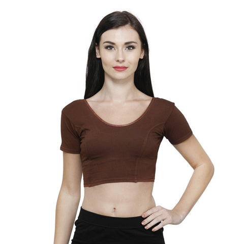 Vami Women's Cotton Stretchable Readymade Blouses - Chocolate Truffle