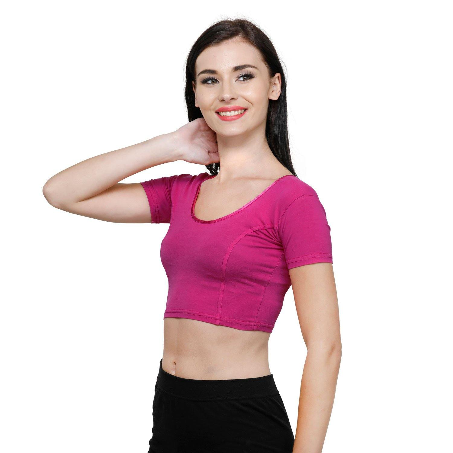 Vami Women's Cotton Stretchable Readymade Blouses - Fuschia
