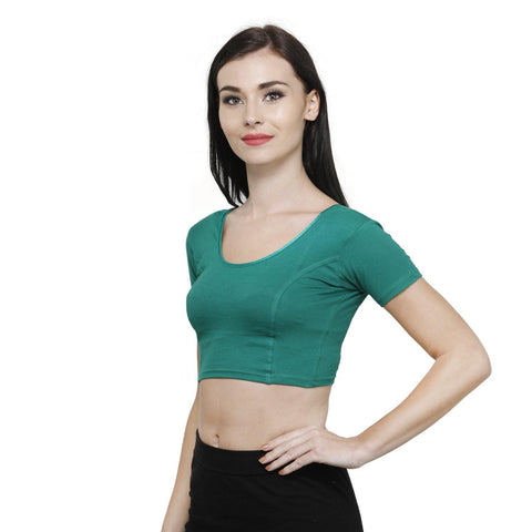 Vami Women's Cotton Stretchable Readymade Blouses - Garden Green