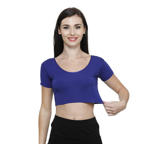 Vami Women's Cotton Stretchable Readymade Blouses - Ink Blue