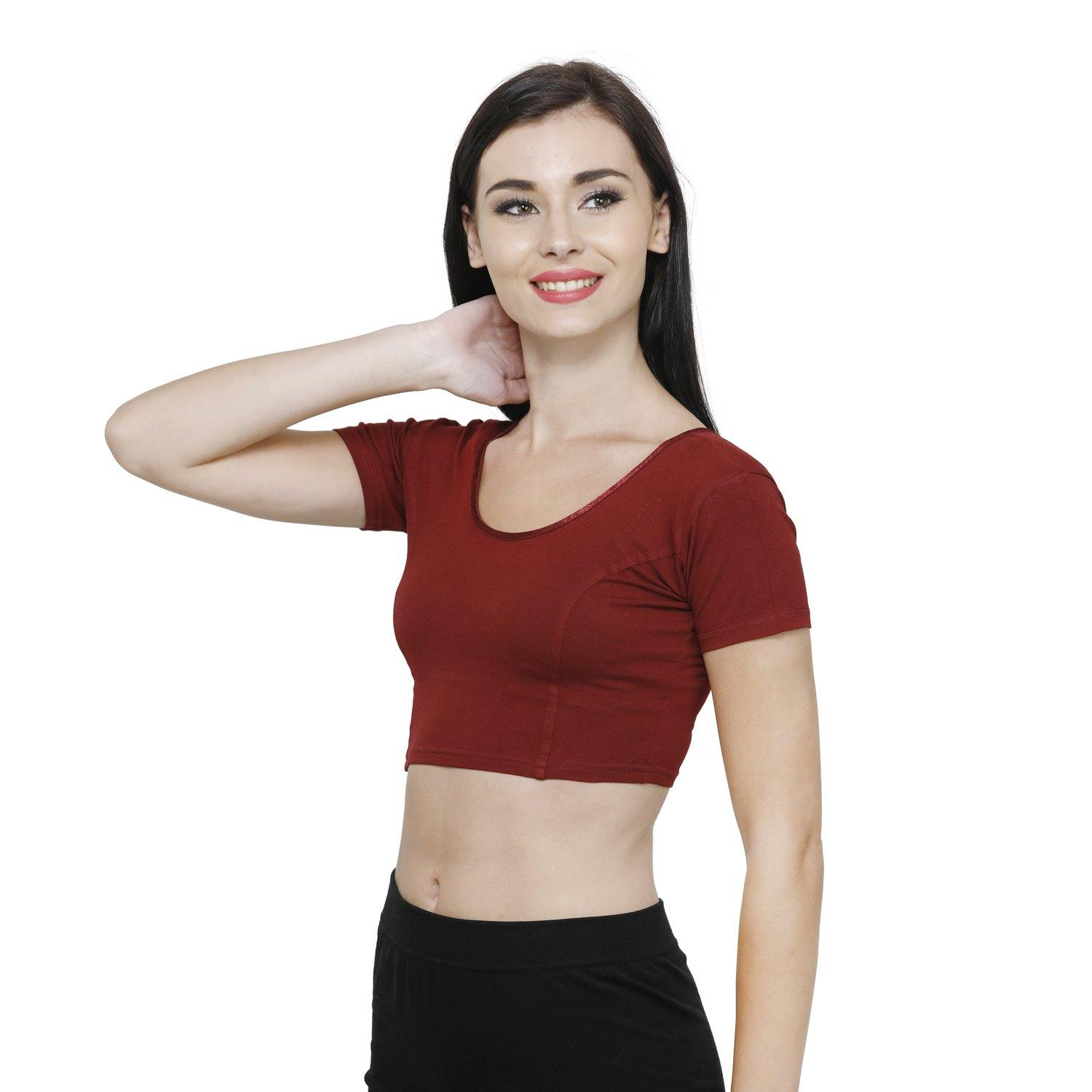 Vami Women's Cotton Stretchable Readymade Blouses - Maroon