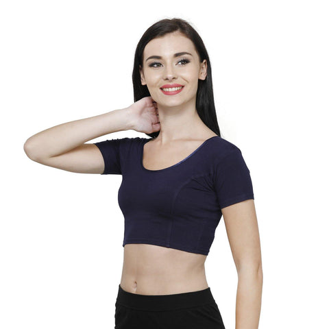 Vami Women's Cotton Stretchable Readymade Blouses - Navy