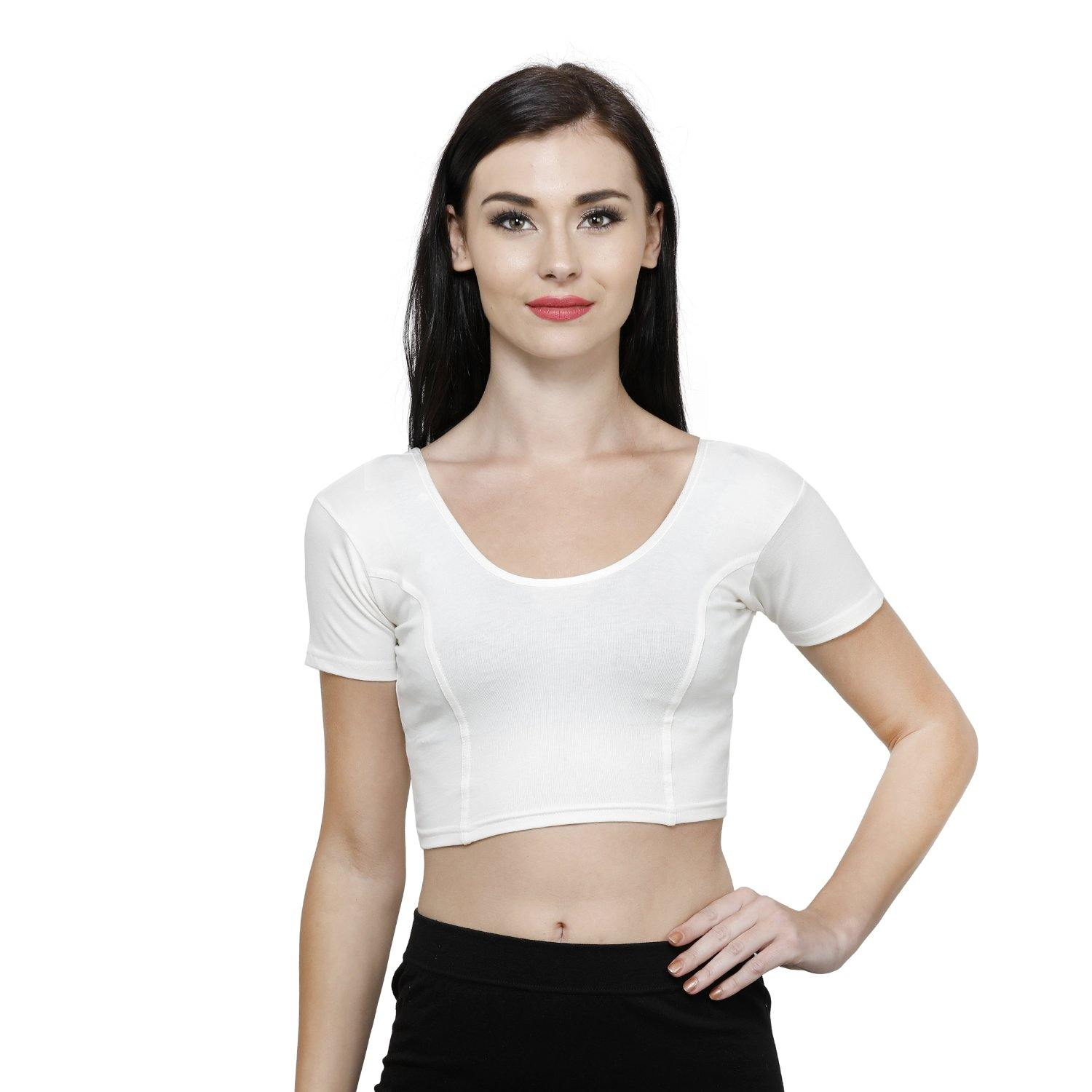 Vami Women's Cotton Stretchable Readymade Blouses - Off White