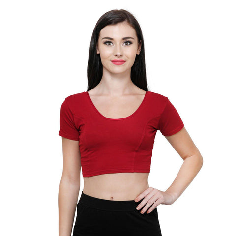 Vami Women's Cotton Stretchable Readymade Blouses - Red
