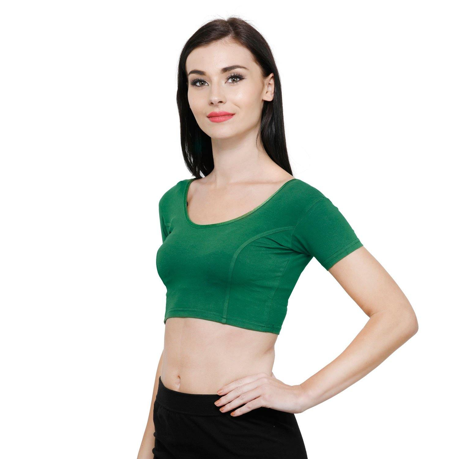 Vami Women's Cotton Stretchable Readymade Blouses - Rich Green