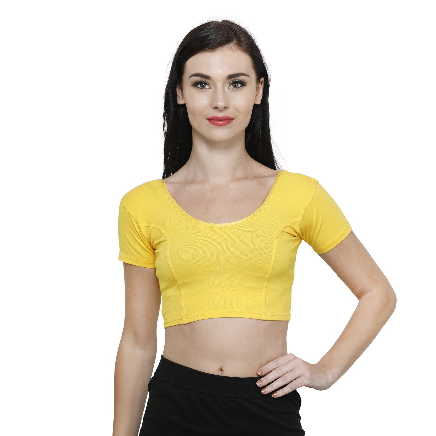 Vami Women's Cotton Stretchable Readymade Blouses - Sun Flower