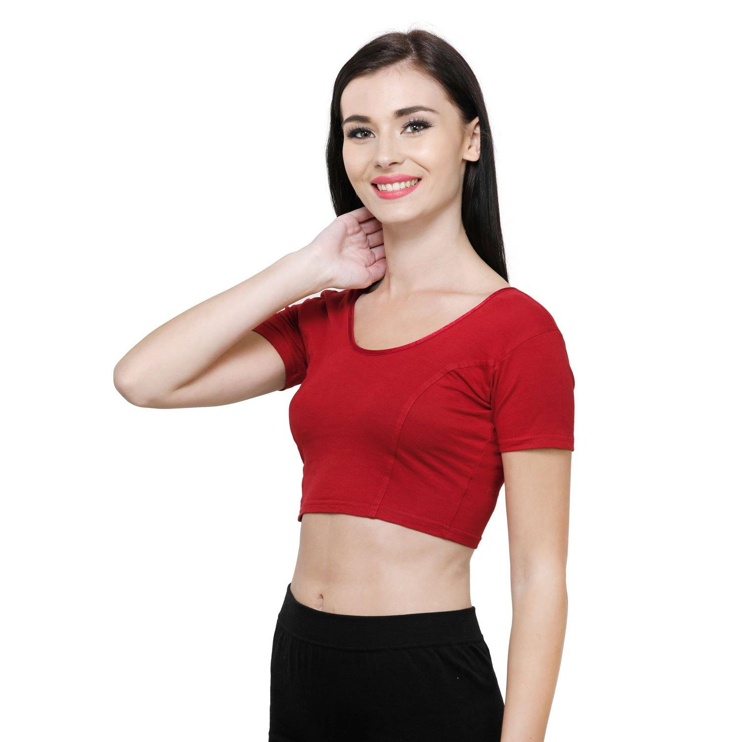 Vami Women's Cotton Stretchable Readymade Blouses -True Red