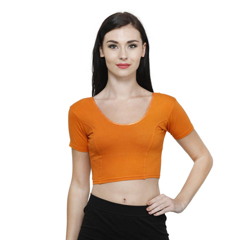 Vami Women's Cotton Stretchable Readymade Blouses - Vibrant Orange