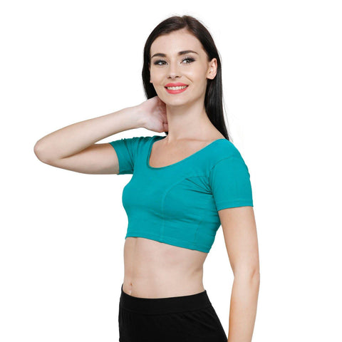 Vami Women's Cotton Stretchable Readymade Blouses - Water Green