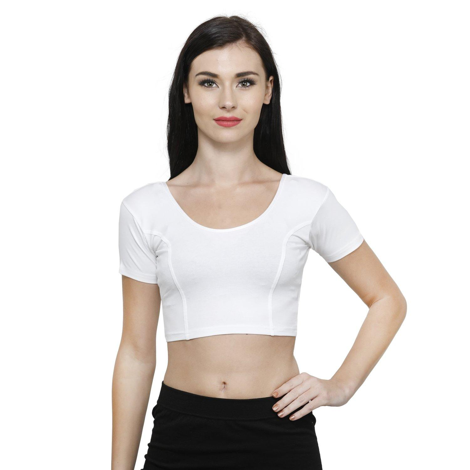 Vami Women's Cotton Stretchable Readymade Blouses - White