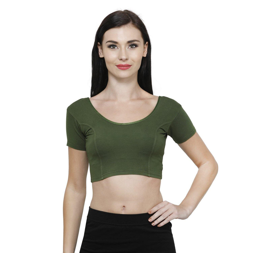 Vami Women's Cotton Stretchable Readymade Blouses - Perry Green