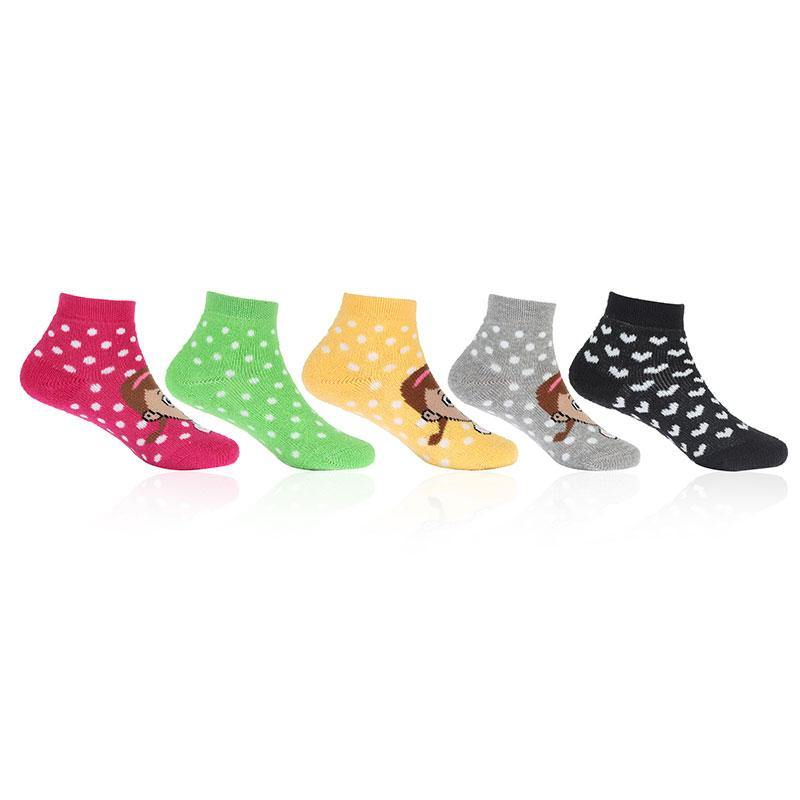 Fashionable Multicolored Cushioned Socks With Cute Girl Prints For Infants - Pack Of 5