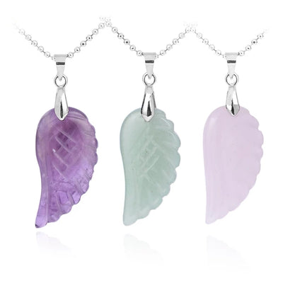 CSJA Natural Gem Stone Angel Wing Necklaces & Pendants Purple Pink Rock Crystal Lapis Lazuli Opal Green Aventurine Jewelry E768 - Chakra Healing Crystals -Zenna Gems