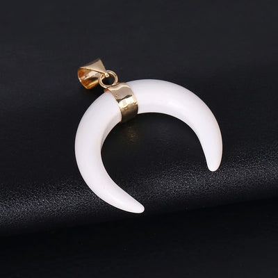 CSJA Natural Stones Crescent Moon Necklaces Pendants Purple Crystal Pink Quartz White Stone Gold Color Reiki Women Jewelry F306 - Chakra Healing Crystals -Zenna Gems