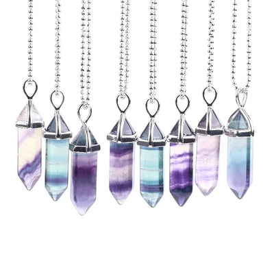 CSJA Fluorite Necklaces Crystal Pendants Natural Gem Stone Quartz Bullet Hexagonal Pendulum Reiki Chakra Suspension Jewelry E546 - Chakra Healing Crystals -Zenna Gems