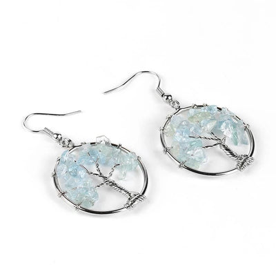 YGGDRASSIL - Round-Shaped Tree Of Life Earrings - Chakra Healing Crystals -Zenna Gems