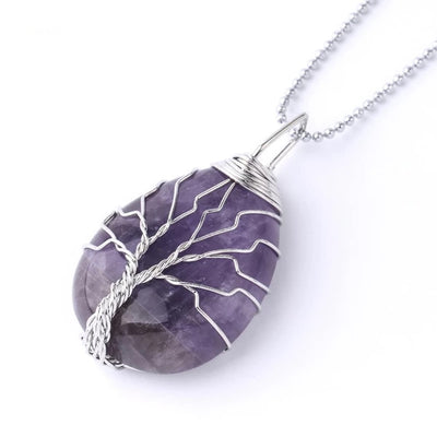 BALANCE - Wrap Around Tree Of Life Pendant Necklace - Chakra Healing Crystals -Zenna Gems