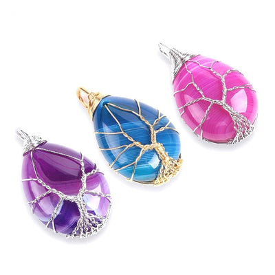 CSJA Gold Color Tree of Life Wire Wrap Water Drop Necklace & Pendant Reiki Natural Gem Stone Purple Blue Veins Onyx Jewelry E806 - Chakra Healing Crystals -Zenna Gems