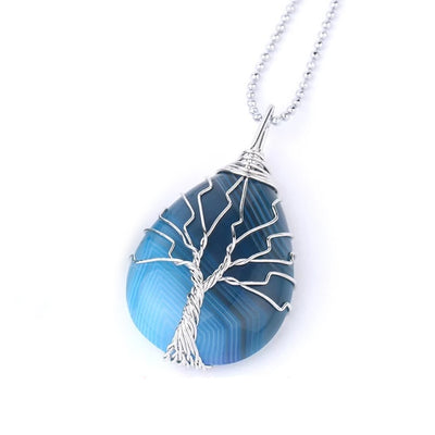 AGATE - Wrap Around Tree of Life Necklace Pendant - Chakra Healing Crystals -Zenna Gems