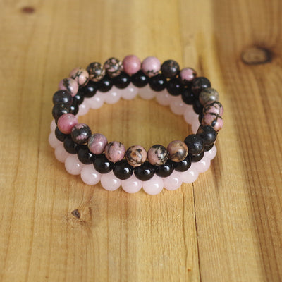 TREBLE - Rhodonite, Rose Quartz And Black Onyx Stackable Bracelets - Chakra Healing Crystals -Zenna Gems
