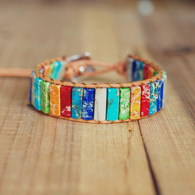 Natural Stone Handmade Multi Color Chakra Bracelet Jewelry Tube Beads Leather Wrap Bracelet Creative Gifts Couples Bracelets - Chakra Healing Crystals -Zenna Gems