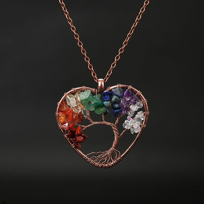 Natural Stone 7 Chakra Reiki Healing Tree of Life Pendant  Necklace  Heart Pendants Amulet Healing Crystal  Women Jewelry Gift - Chakra Healing Crystals -Zenna Gems