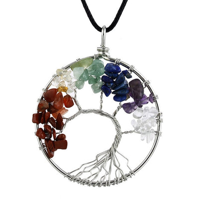 ALDER - Round Tree Of Life Bohemian Pendant Necklace - Chakra Healing Crystals -Zenna Gems