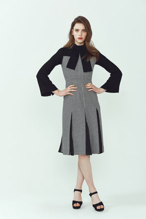 Helena Houndstooth Cut Panel Dress