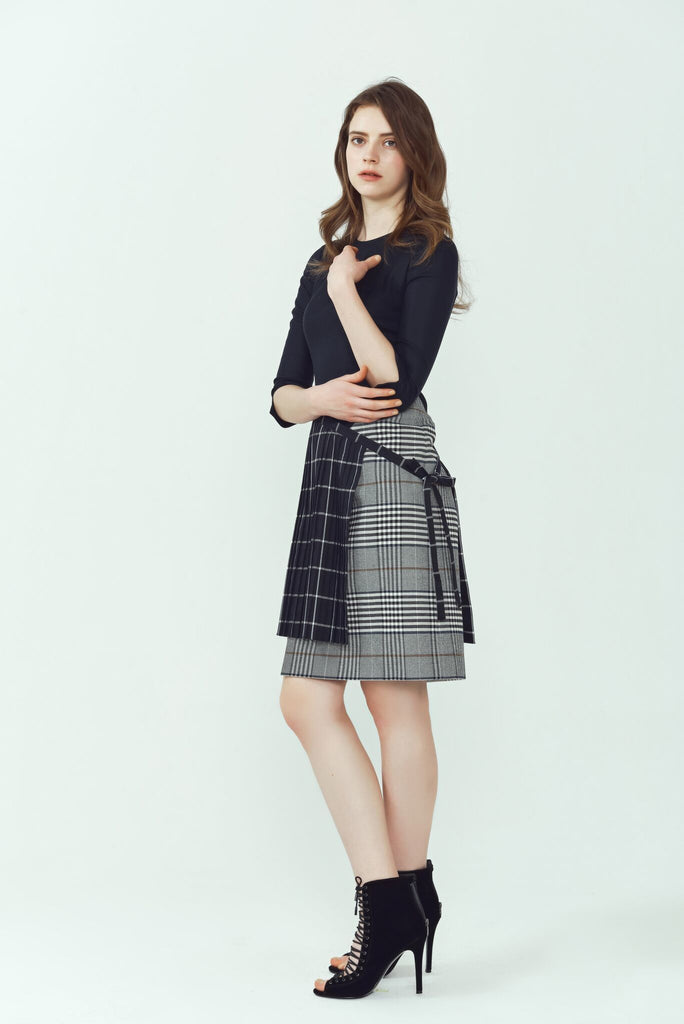 Elliott Plaid Pleated Wrap Skirt Dress