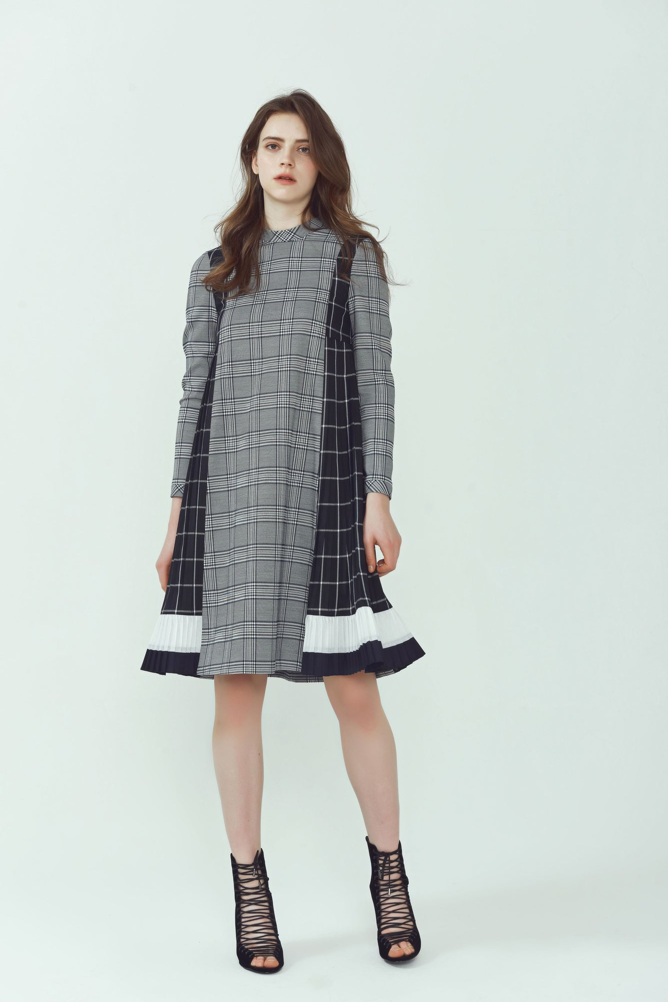 Pleated Tent Panel Dress