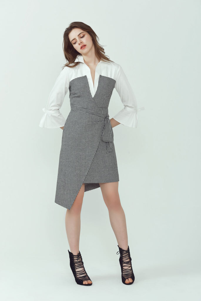 Adrienne Houndstooth Shirt Dress