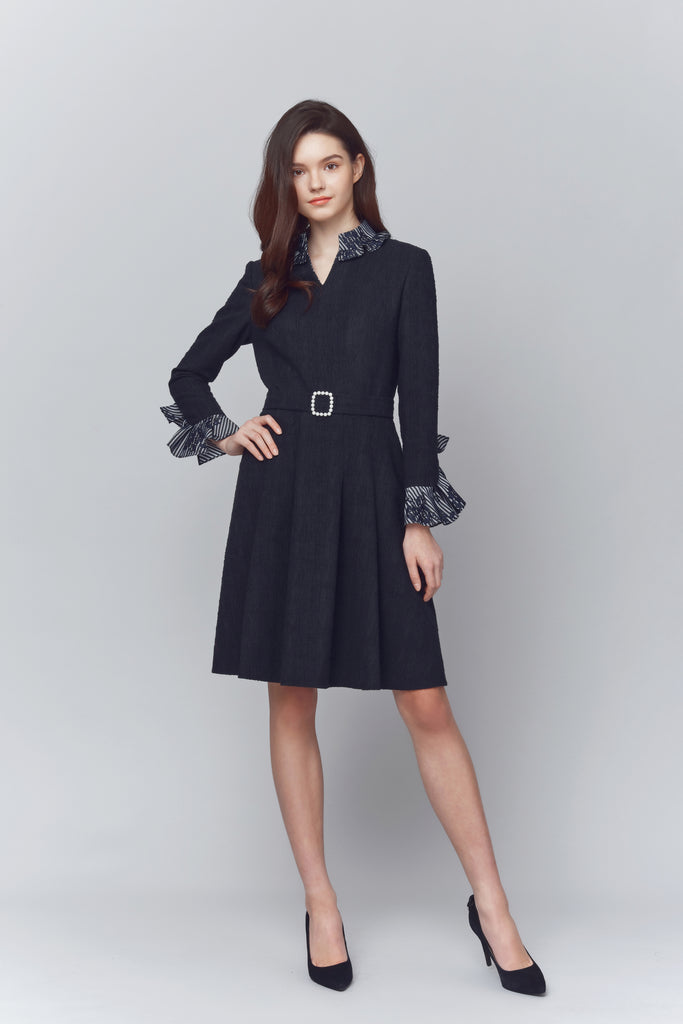 Mia Belted Ruffle Sleeved Dress