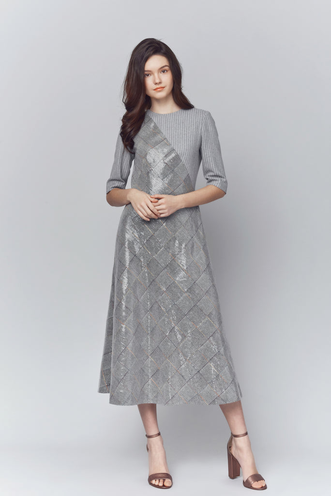 Megan Sequin Sleeved Midi Dress