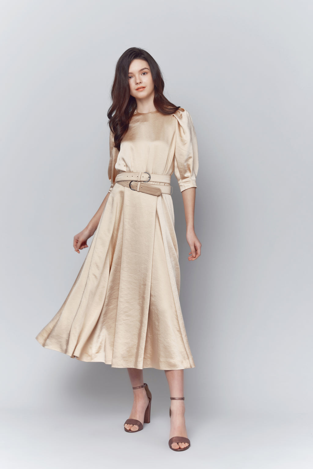 Darlene Satin Sleeved Midi Dress