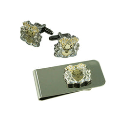 Double Plated Custom Personalised Shield Cufflinks + Money Clip
