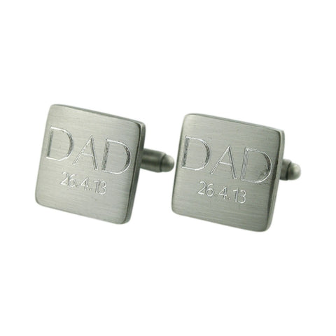 Brushed DAD Engraved Silver Cuffs