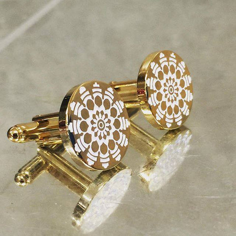 Colour Engraved Round Gold Cufflinks