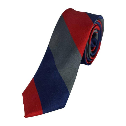 Skinny Blue Red Grey Striped Tie