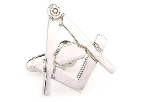 Silver Square and Compass Freemason Cufflinks