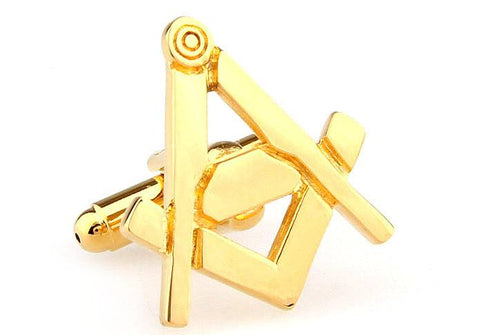 Gold Square and Compass Freemason Cufflinks
