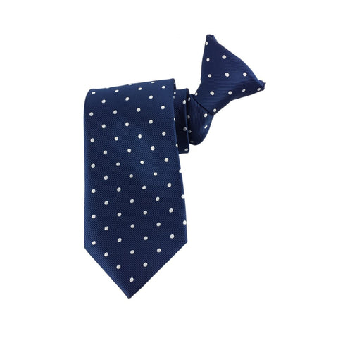 Navy Polka Dot Clip On Tie 45cm
