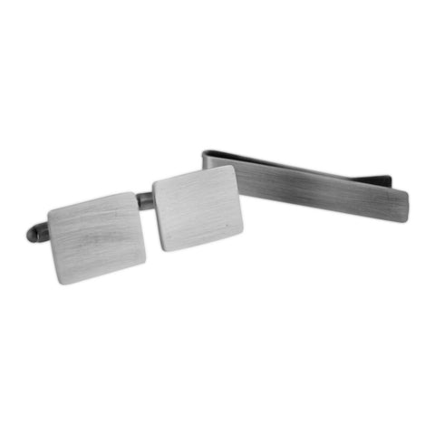 Brushed Rectangle Cufflinks and Tie Bar set