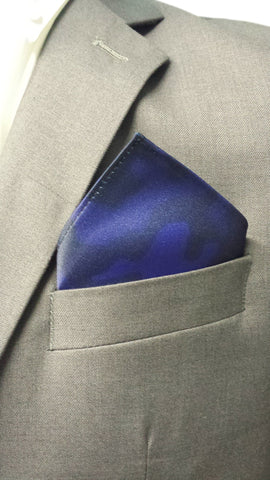 Navy Blue Camo Print Pocket Square