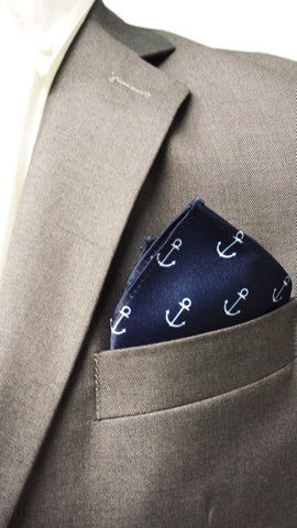 Navy Anchor Print Pocket Square