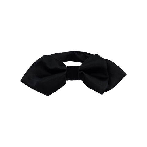 Black Contrast Pointed Wing Bow Tie